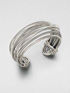 David Yurman Wide Sterling Silver Bangle Bracelet