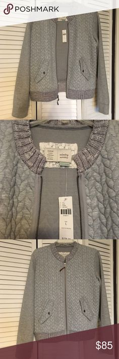 Anthropologie Monday Tuesday Wednesday Jacket Gorgeous gray quilted jacket, incredibly soft with zipper closure and 2 side pockets that button close. Light and comfy. Perfect for Spring! Anthropologie Jackets & Coats