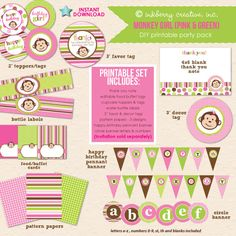 Adorable, DIY PRINTABLE party package to match our popular Monkey Girls (Pink/Green) Birthday Party invitations! This PDF file contains editable items that you can personalize with your child's name a