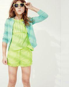 APR '14 Style Guide: J.Crew Girls Caroline cardigan, chino ruffle short.