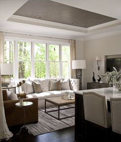 Gorgeous living room with gray tray ceiling over soft beige walls and dark hardwood floors layered with a contemporary gray rug. Living Room Furniture Layout, Living Room Designs, New Living Room, Home And Living, Simple Living, Living Spaces, Style At Home, Colored Ceiling, Ceiling Color