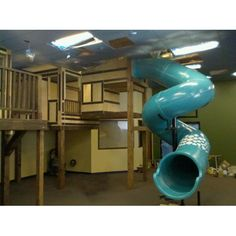 Image shown from recent indoor playground project during construction. Kids Church Rooms, Kids Room, Kid Playroom, Playroom Ideas, Indoor Playground, Playground Slides, Indoor Slides, Store Image, Kids Play Area
