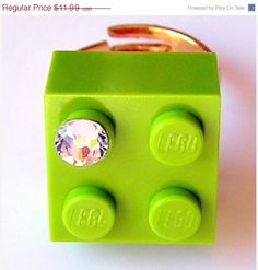 ON SALE Light Green LEGO R brick 2x2 with a by MademoiselleAlma, $8.39