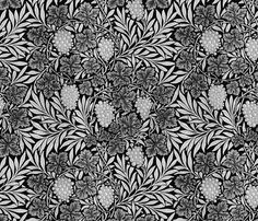 William Morris ~ Jungle Vines ~ Black and Silver fabric by peacoquettedesigns on Spoonflower - custom fabric