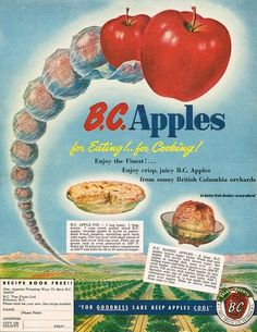 Vintage British Columbia Ad with recipes for BC Apple Pie and BC Baked Apples - BC Apples