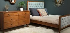 Midcentury modern bed - Mid-century modern style incorporates a minimal selection of additional decoration in the bedroom design Modern Baby Furniture, Modern Kids Bedroom, Modern Crib, Cottage Furniture, Contemporary Furniture, Mid Century Modern Bedroom, Mid Century Modern Lighting, Mid Century Modern Design, Mid Century Modern Furniture