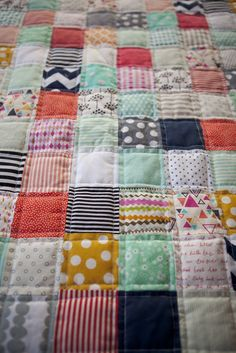 Cute quilt. Would love to do something like this with my son's crib sheets once he's in a toddler bed.