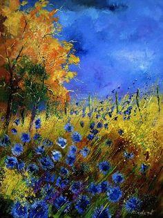 """Blue Cornflowers and Orange Tree"" by Pol Ledent"