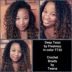 Crochet Braids with Freetress Deep Twist in color # crochet Braids locks # twist Braids locks # crochet Braids locks braid styles freetress twists Crochet Braids Hairstyles, Twist Hairstyles, Protective Hairstyles, Cool Hairstyles, Protective Styles, Twist Curls, Twist Braids, Twists, Curly Hair Styles