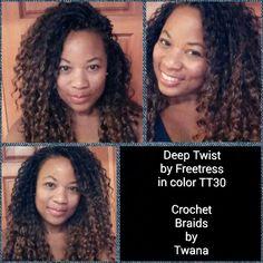 Crochet Braids with Freetress Deep Twist in color TT30