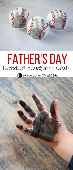 This father's day handprint craft is a quick and easy craft that will be a wonderful keepsake and memory! Simple to make with a baseball and paint. Informations About Father's Day Baseball Craft - The Diy Father's Day Gifts Easy, Diy Mother's Day Crafts, Quick And Easy Crafts, Father's Day Diy, Baby Crafts, Toddler Crafts, Baby Handprint Crafts, Infant Crafts, Kid Crafts