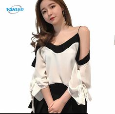 VANLED Women's White Black Chiffon Blouses Shirt Korean Female Spring Summer Off Shoulder Girls Tops Sexy Clothing *** This is an AliExpress affiliate pin. Details on product can be viewed on AliExpress website by clicking the VISIT button Black Chiffon Blouse, Black Blouse, Chiffon Blouses, Gaines, Sexy Outfits, Shirt Sleeves, Blouses For Women, Spring Summer, Black And White