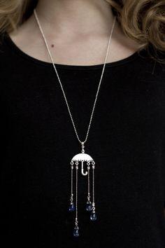 Umbrella and raindrops sautoir necklace