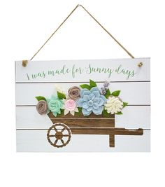 Hello Spring Wall Decor-Wheelbarrow with Felt Flowers,