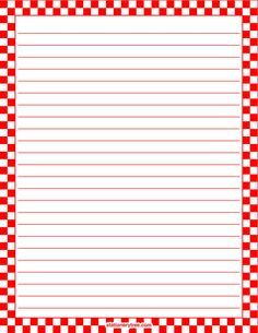 Printable red and white checkered stationery and writing paper. Multiple versions available with or without lines. Free PDF downloads at http://stationerytree.com/download/red-and-white-checkered-stationery/