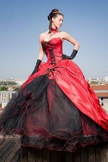 Gothic custom gorgeous red & black corset wedding dress bridal ...
