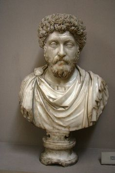Ancient Roman bust ofEmperor Marcus Aurelius, marble, 3rd century.    Marcus Aureliuswas Roman Emperor from 161 to 180. He ruled with Lucius Verus as co-emperor from 161 until Verus' death in 169. He was the last of the Five Good Emperors, and is also considered one of the most important Stoic philosophers.