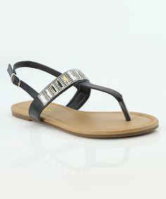 Loving this Black Rhinestone Iris Sandal on #zulily! #zulilyfinds