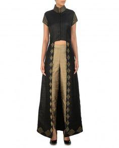 Black Front Open Jacket with Sequined Hem - Diwali Delight