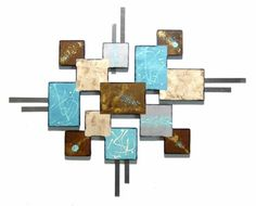 Lucky Thirteen Large Mediterranean Inspired Abstract Wall Art - Abstract Wooden Wall Art