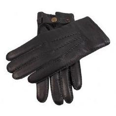 Dents Gloves - Black Handsewn Cashmere Lined Deerskin Gloves by Dents