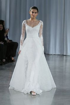 MONIQUE LHUILLIER Memory - Silk white chantilly lace tip of shoulder illusion sleeve modified trumpet gown Memory - silk white chantilly lace overskirt
