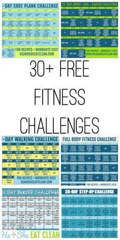 Looking for free workout resources? This has you covered! Over 30 FREE fitness challenges for you to choose from! Get started today with #30day fitness challenges, #beginner level challenges, #fullbody challenges and more! The #idea is to stay moving! #heandsheeatclean #fitness #workout #exercise
