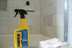 Spray Rain X on shower doors to keep soap scum from building up