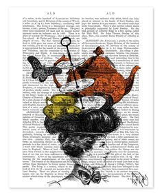 Victorian Lady & Afternoon Tea Hat Dictionary Print by FabFunky #zulily #zulilyfinds