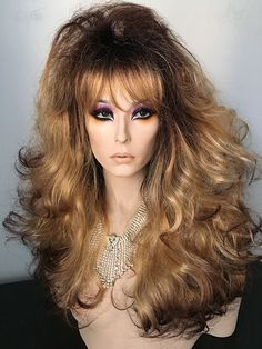 Drag Queen Wig, Bouncy, Darkest Brown, Golden Blonde, dark roots, tips