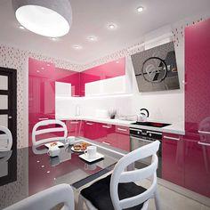 Modern Kitchen Cabinets, Modern Kitchen Design, Kitchen Decor, My Home Design, House Design, Interior Styling, Interior Design, Pink Houses, Kitchen Photos