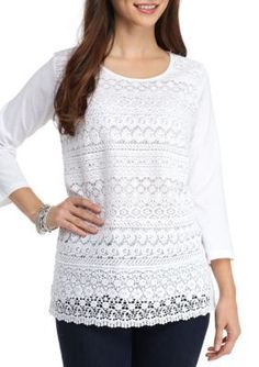 Kim Rogers White Olivia 34 Sleeve Tiered Lace Front Top