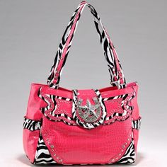 Studded Zebra Print Handbag Purse w/ Rhinestone Star Accent - Pink