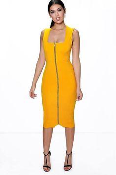 be63f8ab362 Sia Square Neck Zip Front Midi Bodycon Dress - Dresses - Street Style