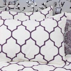 {aubergine moroccan print bedding}