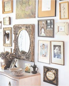antique looking gallery wall