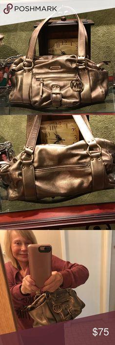 Beautiful authentic Michael kors purse.  firm Gorgeous metallic gold medium purse. Great condition. Michael Kors Collection Bags Shoulder Bags