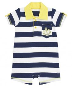 Let his imagination go wild, sailing the seas and fighting pirates in this bold striped romper!