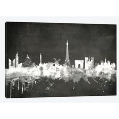 East Urban Home 'Blackboard Skyline Series: Paris, France' by Michael Tompsett Painting Print on Wrapped Canvas Size: