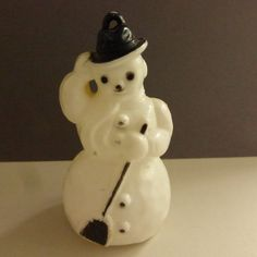 Vintage Hard Plastic Snowman in Black Ornament   H367 by papertales on Etsy