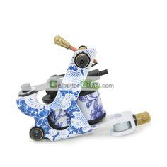 US$3.99 - New Design Tattoo Machine Gun Blue and White Porcelain for shader Liner 8 Coils