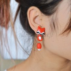 1 Pair New Stereoscopic Handmade Polymer Clay Cute Fox Earrings for Women Cartoon Stud Earrings Jewelry Brincos Animal Earrings, Cute Earrings, Unique Earrings, Earrings Handmade, Jewelry Gifts, Fine Jewelry, Happy Fox, Surgical Steel Earrings, Polymer Clay Animals