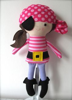 15 inch Soft Cloth Doll, Rag Doll, Collectible Personalised Handmade Doll, Pirate, Girl, H... £28