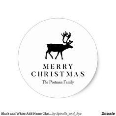 Black and White Add Name Christmas Reindeer