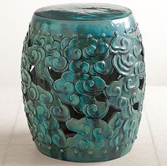 Turquoise Cloud Garden Stool--Iu0027ll put this in the tiny zen- & Ceramic garden stool with a raised Chinese dragon design. Product ... islam-shia.org