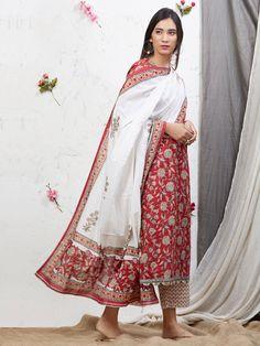 631a15b48b Buy Red White Hand Block Printed Cotton Kurta with Palazzo and Mulmul  Dupatta - Set of