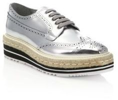 6fcba6a0db5d Prada Metallic Leather Creeper Brogue Espadrilles - silver.Made in Italy.  http:/