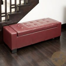Guernsey Red Bonded Leather Storage Ottoman Bench Furniture Room Living Bed Foot & Chester Armed Brown Storage Ottoman | Brown storage ottoman Arms ...