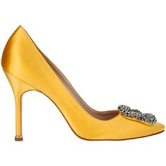 Manolo Blahnik Hangisi Satin Pump Yellow ($965) ❤ liked on Polyvore