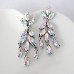 Pair of Iridescent Faux Crystal Decorated Pendant Earrings For Women